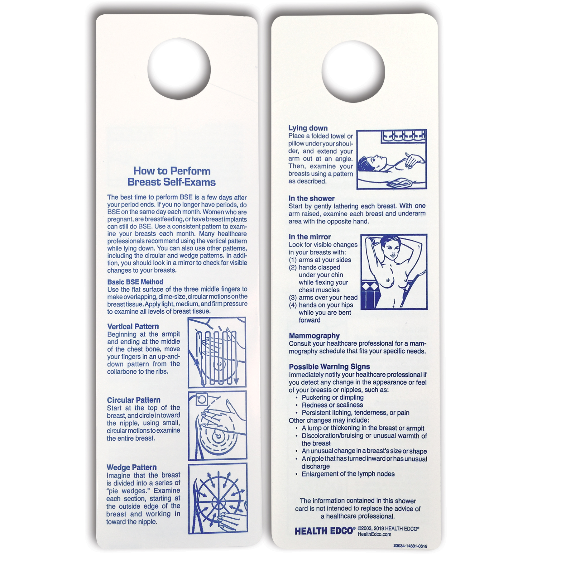 two-sided Breast Self Exam (BSE) shower card, 3 method shighlighted two-sided vinyl for shower, Health Edco, 23034