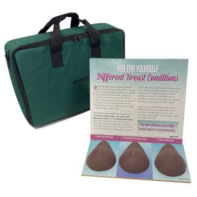 Multi Type BSE Model, Brown, three brown breast health education models, English Spanish display information and case, 26427