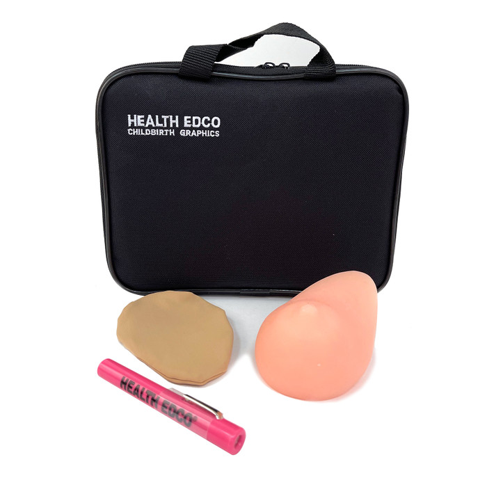 beige teen BSE model with pen light clip cover and green carrying case, teen size breast self examination model with realistic feel and palpable lumps, Health Edco, 26528