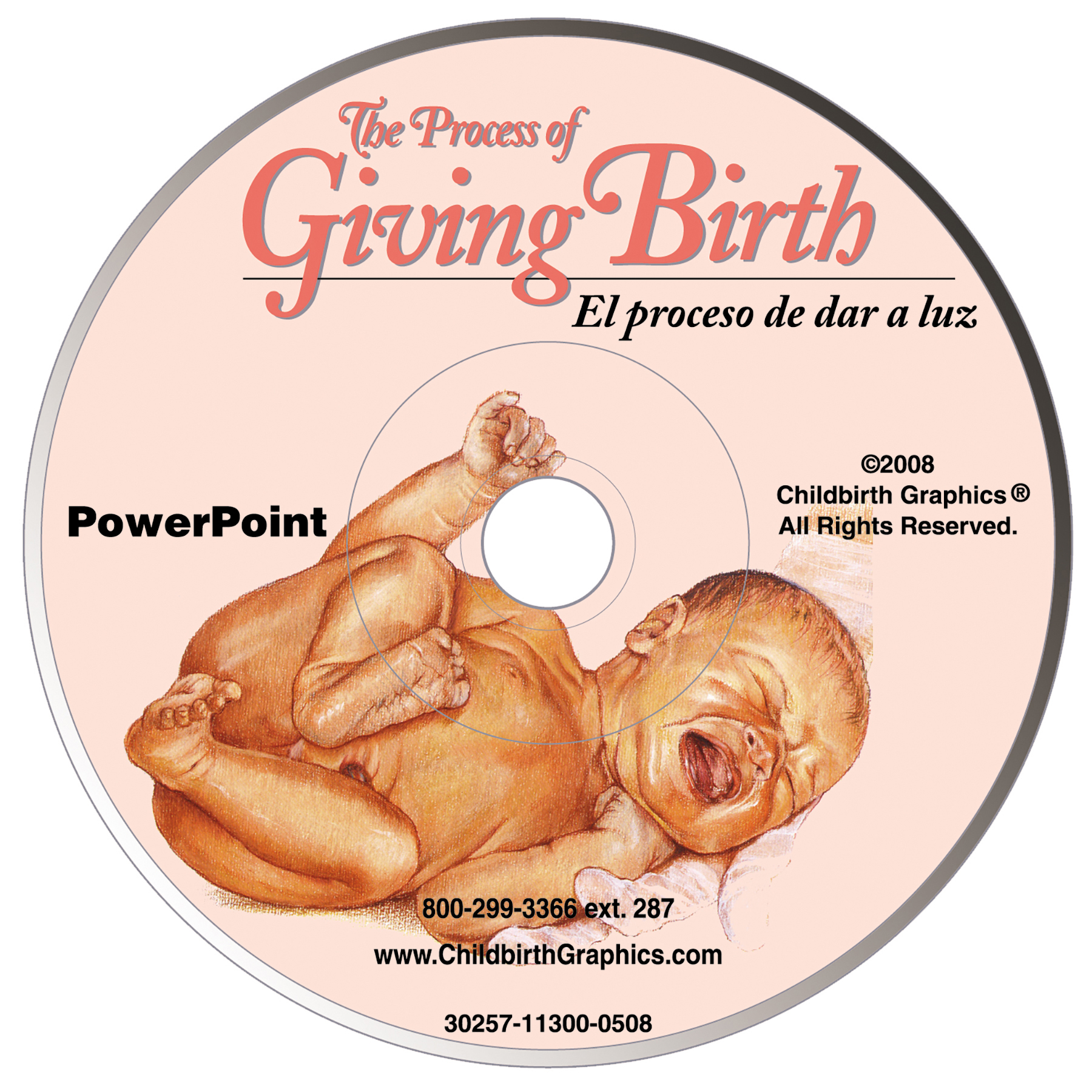 Birth Process powerpoint, illustrations feature conception-fetal development-labor stages, detailed pregnancy information with Spanish key terms, Childbirth Graphics, 30257