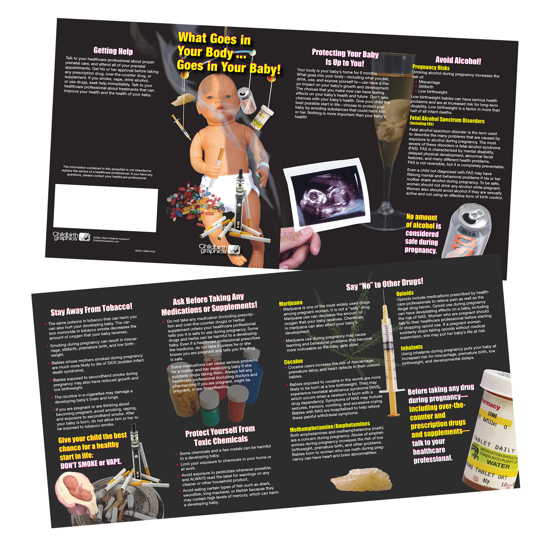 deter pregnant women from using alcohol tobacco drugs and effects on her baby 8-panel pamphlet, front and back pamphlet view Childbirth Graphicss, 38032