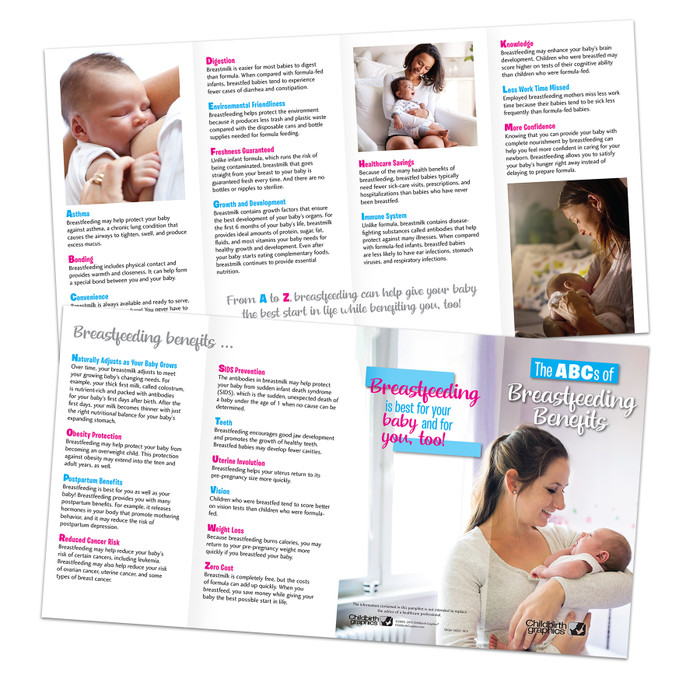The ABCs of Breastfeeding Benefits educational pamphlet from Childbirth Graphics explaining breastfeeding's benefits, 38138