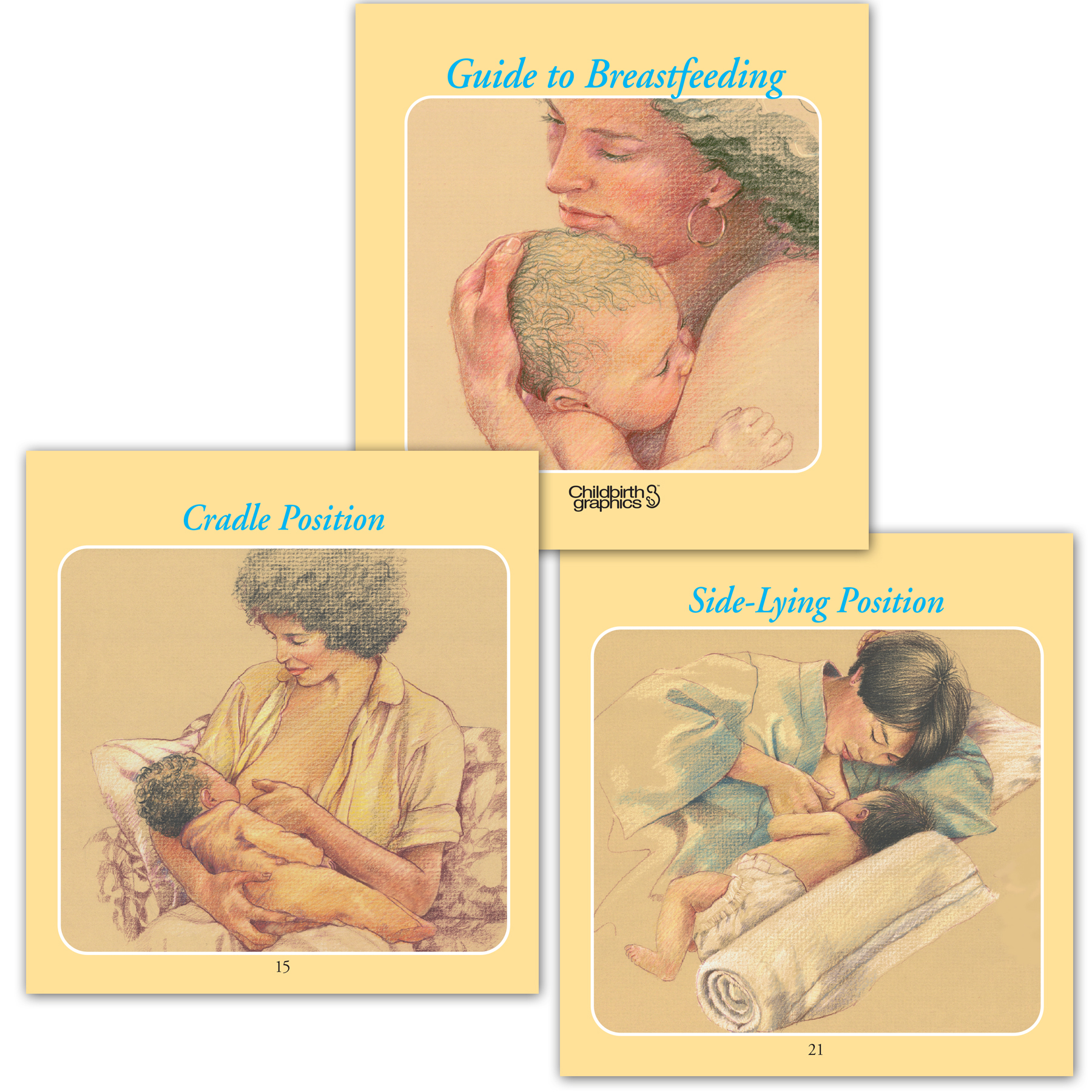 pocket-sized guide to breastfeeding chart set, image of cover and two inside panels, various breastfeeding topics discussed with presentation notes, Childbirth Graphics, 38500
