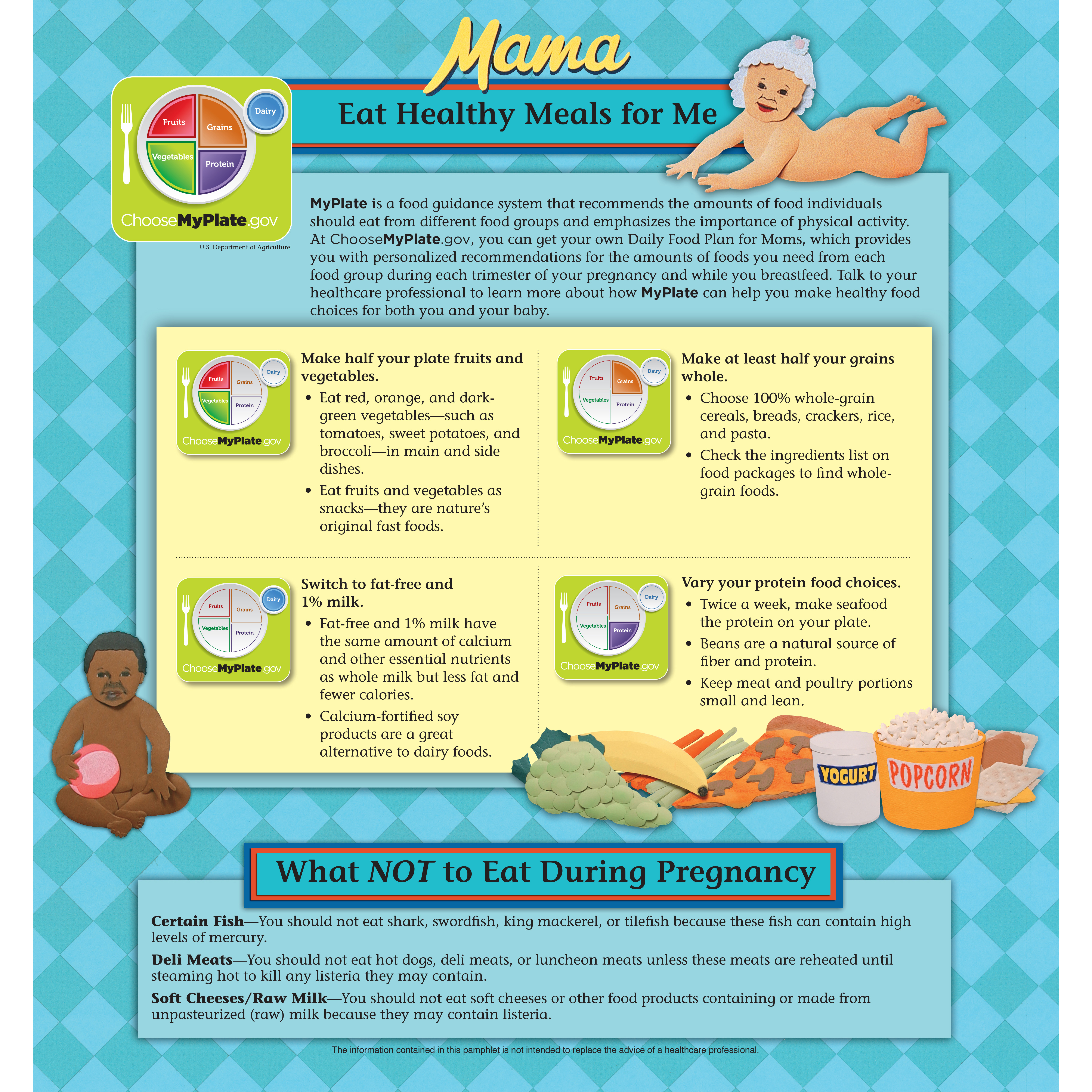 pamphlet/poster emphasizing pregnant mothers observing MyPlate guidelines and avoiding bad behaviors, fold-out poster image showing MyPlate guidelines, Childbirth Graphics, 38521
