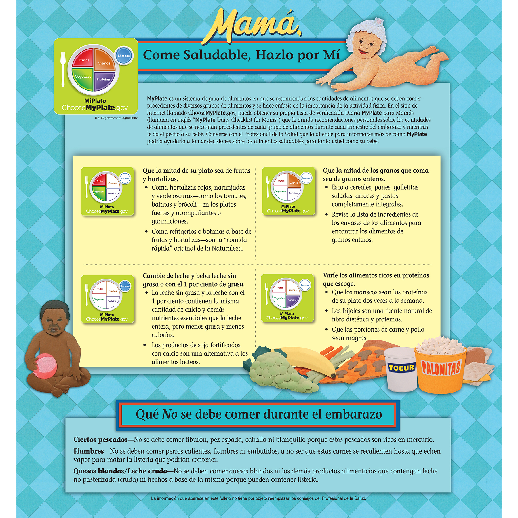 pamphlet/poster emphasizing pregnant mothers observing MyPlate guidelines and avoiding bad behaviors Spanish version, fold-out poster image showing MyPlate guidelines, Childbirth Graphics, 38522