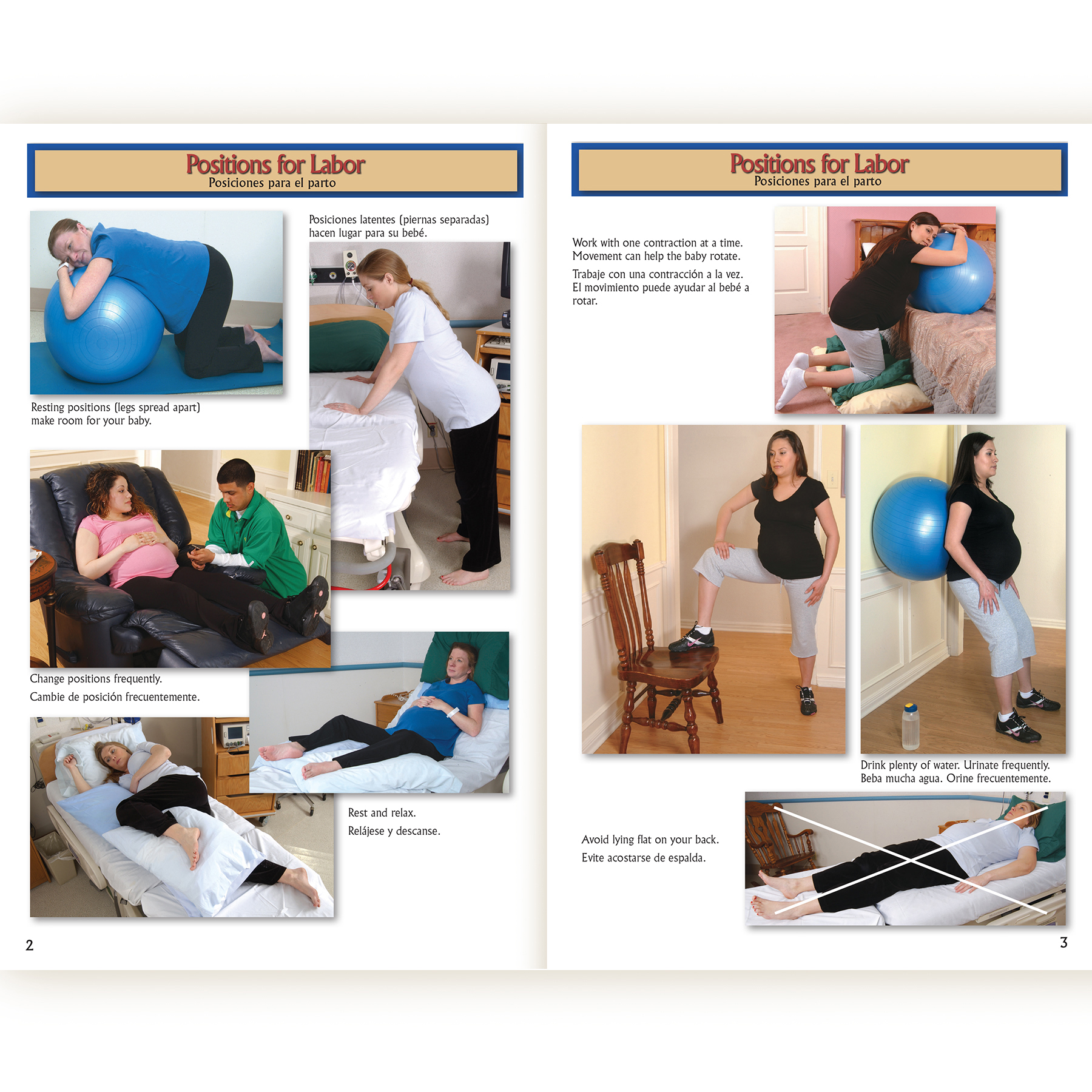 Birth Companion booklet English/Spanishrelieving back pain and changing positions pages, photographic reference of labor comfort measures, Childbirth Graphics, 38524