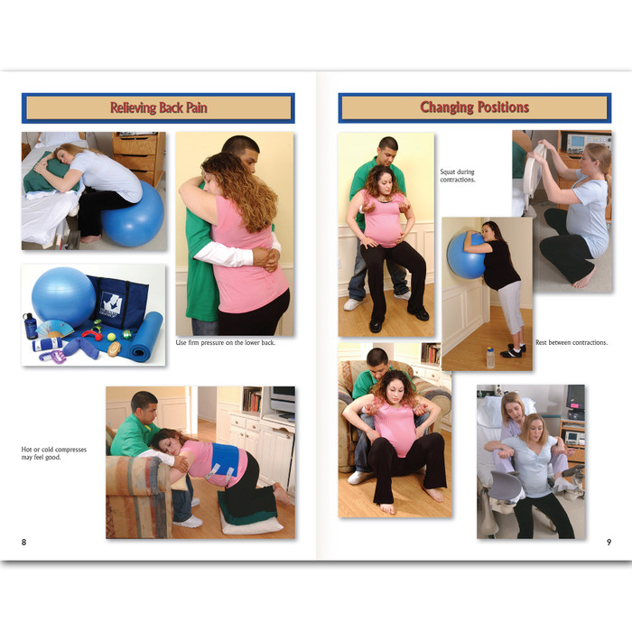 Birth Companion Booklet by Childbirth Graphics, images of back pain relief and changing positions for couples in labor, 38525
