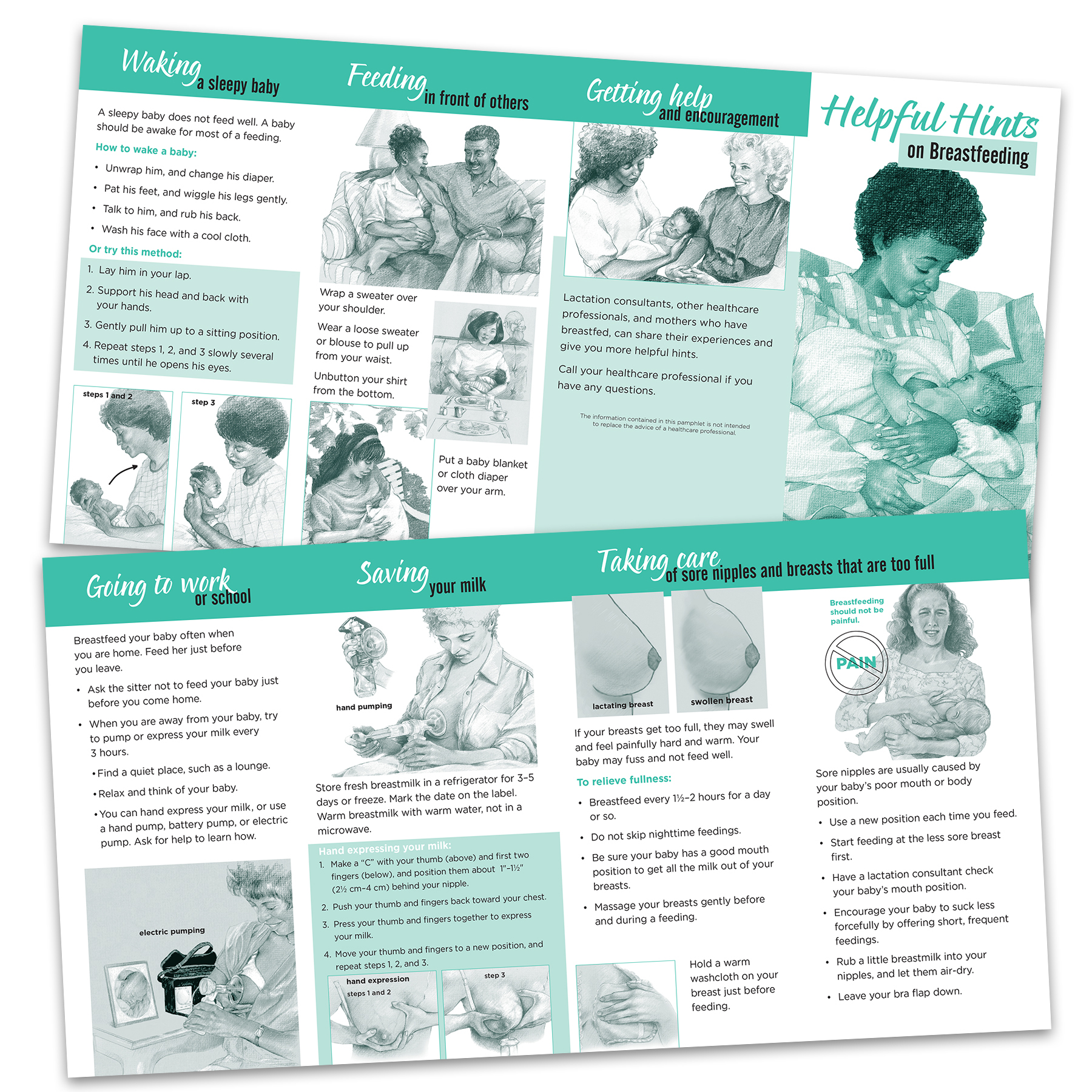 helpful hints on breastfeeding pamphlet, two-color illustrated hints on breastfeeding pamphlet front and back shown, Childbirth Graphics, 38532
