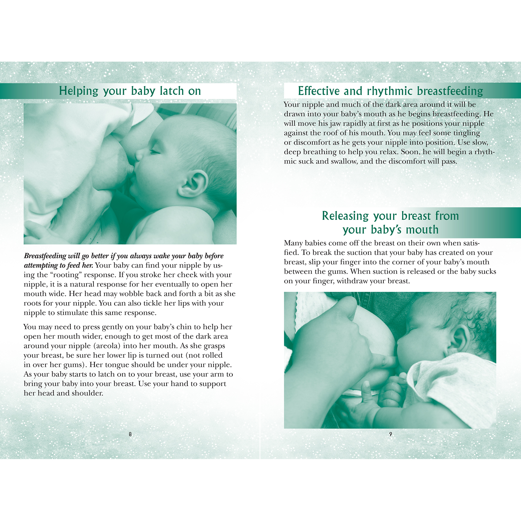 breastfeeding your baby for the first time 16-page booklet center spread shown, breastfeeding positions, propler latch and release, Childbirth Graphics, 38543