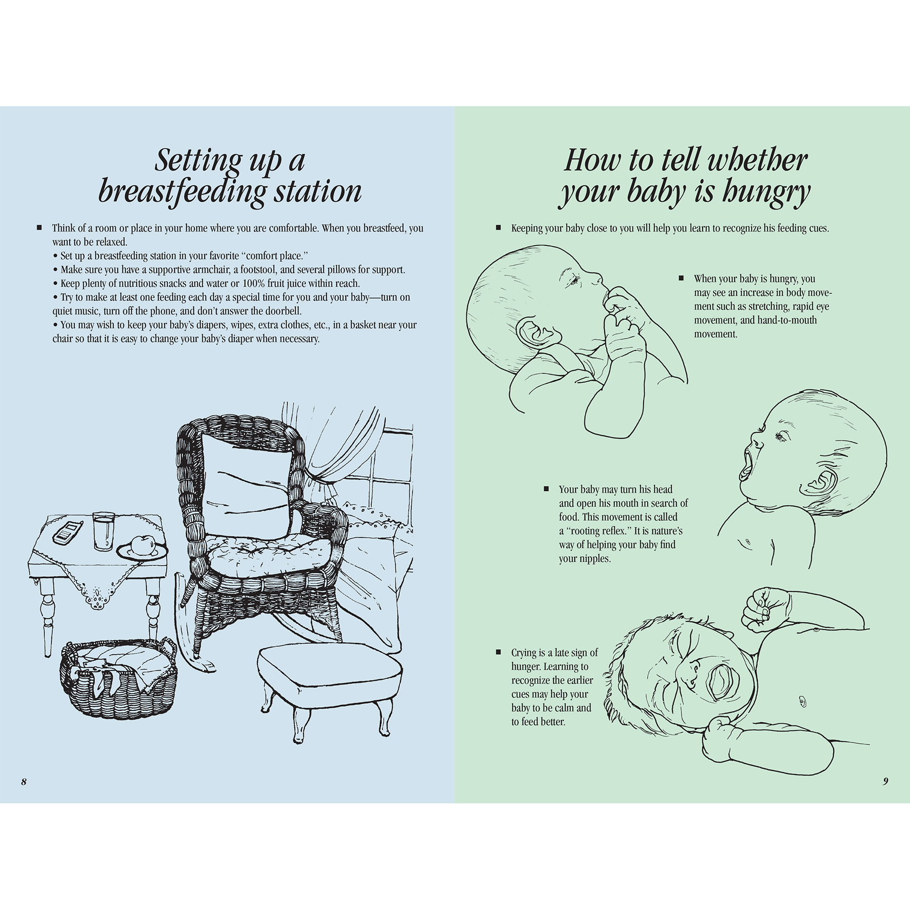 Breastfeeding Basics 16-page illustrated booklet center spread image shown, setting up a breastfeeding station, how to tell when your baby is hungry, Childbirth Graphics, 38545