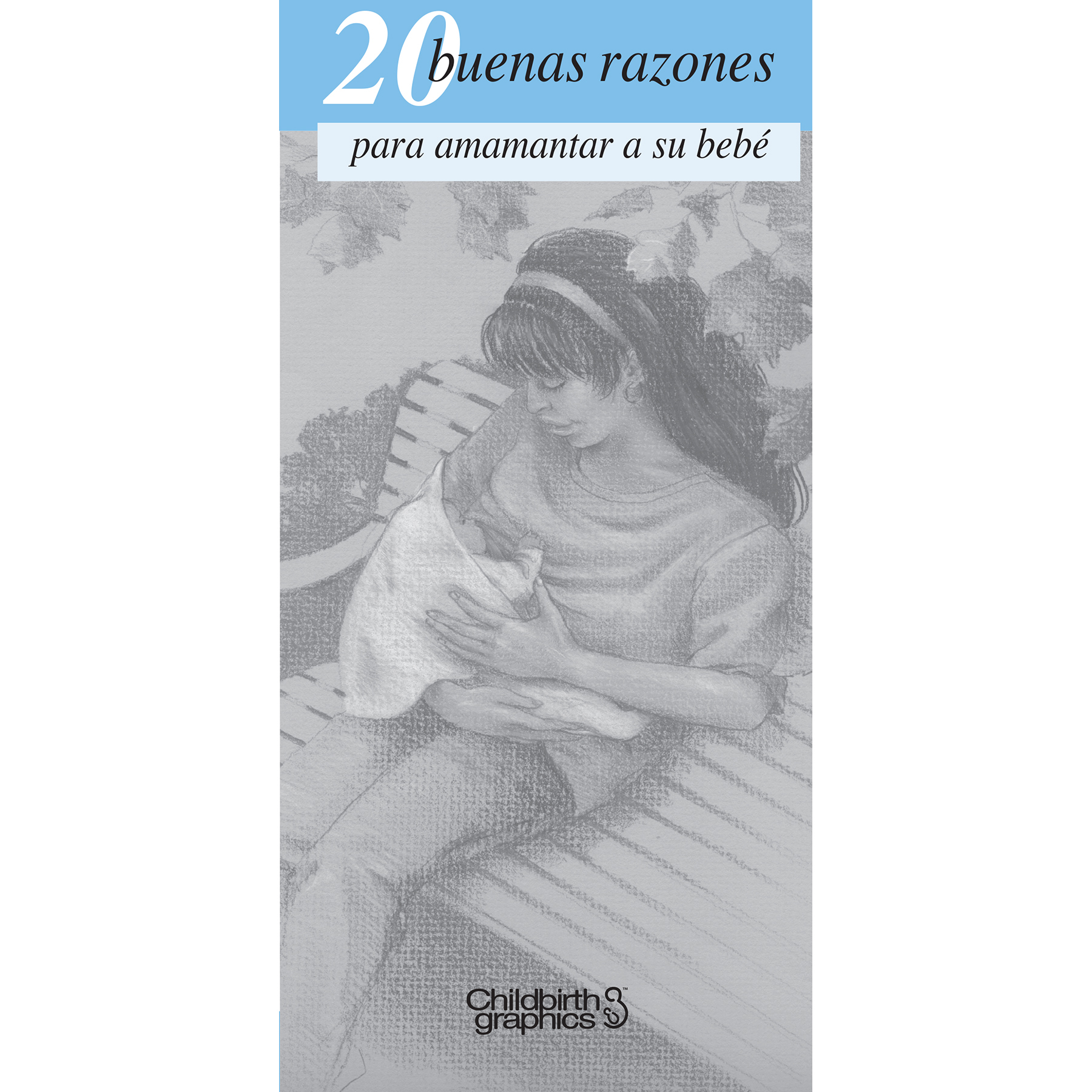 20 great reasons to breastfeed 2-color illustrated pamphlet in Spanish cover image shown, encourage new moms to breastfeed, Childbirth Graphics, 38546