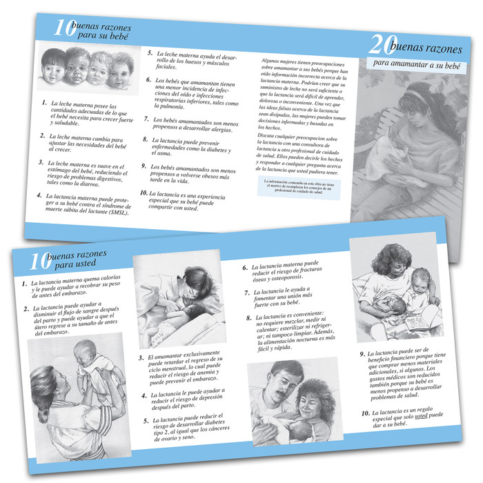 20 great reasons to breastfeed 2-color illustrated pamphlet in Spanish inside and outside image shown, encourage new moms to breastfeed, Childbirth Graphics, 38546