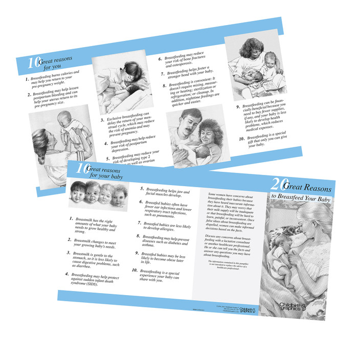 20 great reasons to breastfeed 2-color illustrated pamphlet inside and outside image shown, encourage new moms to breastfeed, Childbirth Graphics, 38569