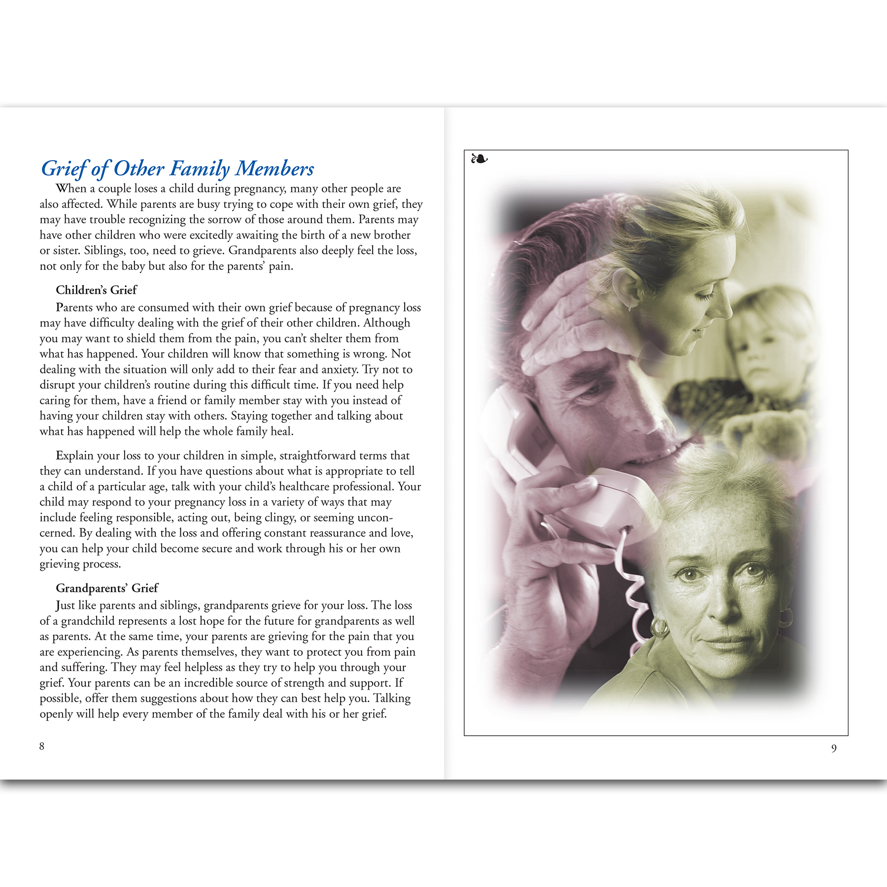 Coping With Pregnancy Loss 16-page booklet center spread image, booklet discusses emotions and grieving process, Childbirth Graphics, 38579