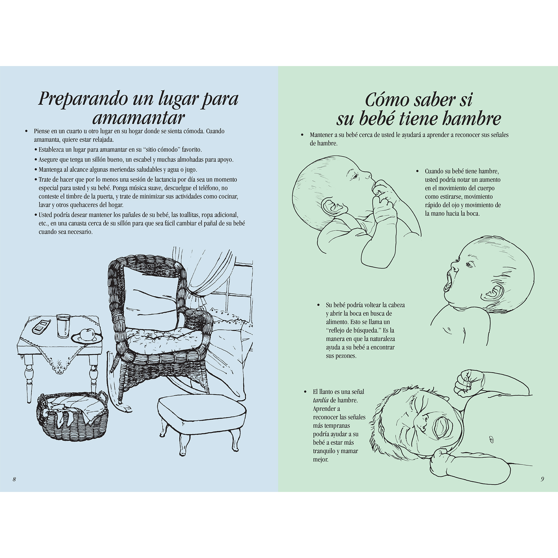 Breastfeeding Basics 16-page illustrated booklet center spread image shown Spanish, setting up a breastfeeding station, how to tell when your baby is hungry, Childbirth Graphics, 38603