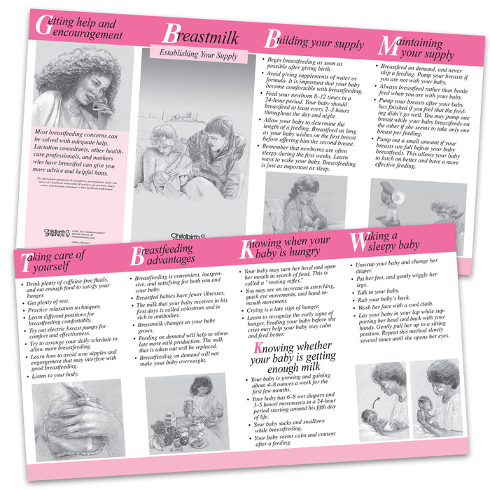 Breastmilk: Establishing Your Supply 2-color illustrated pamphlet cover, Childbirth Graphics, 38649