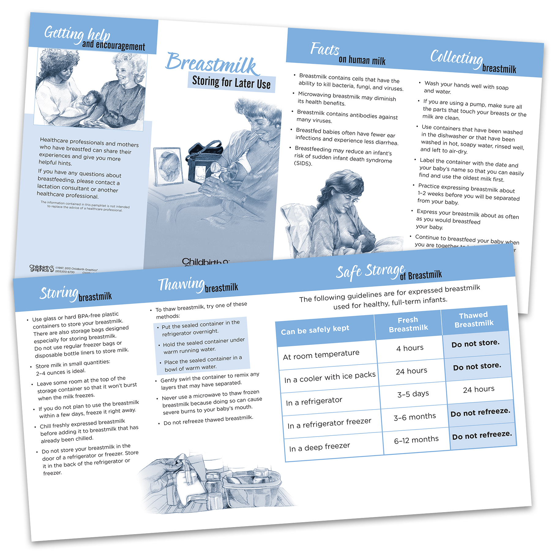 Breastmilk Storing for Later Use two-color illustrated pamphletfront and back, collecting and storing breastmilk, Childbirth Graphics, 38651
