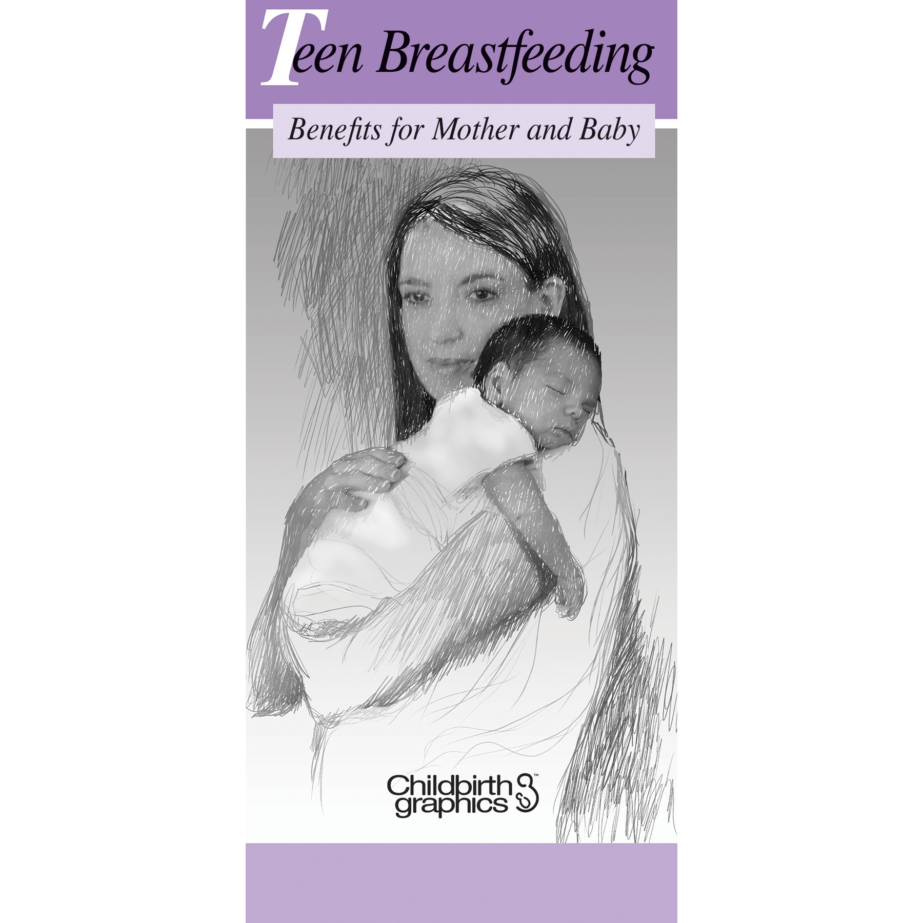 Teen Breastfeeding two-color illustrated pamphlet cover, Childbirth Graphics, 38662