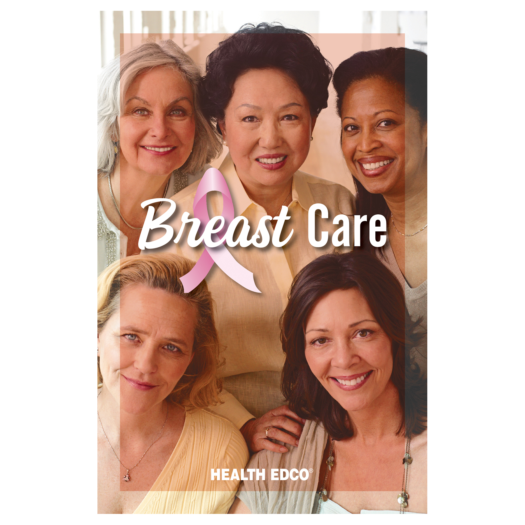 Breast Care 16-page booklet cover, multi-ethnic women and testing methods, Health Edco, 40001