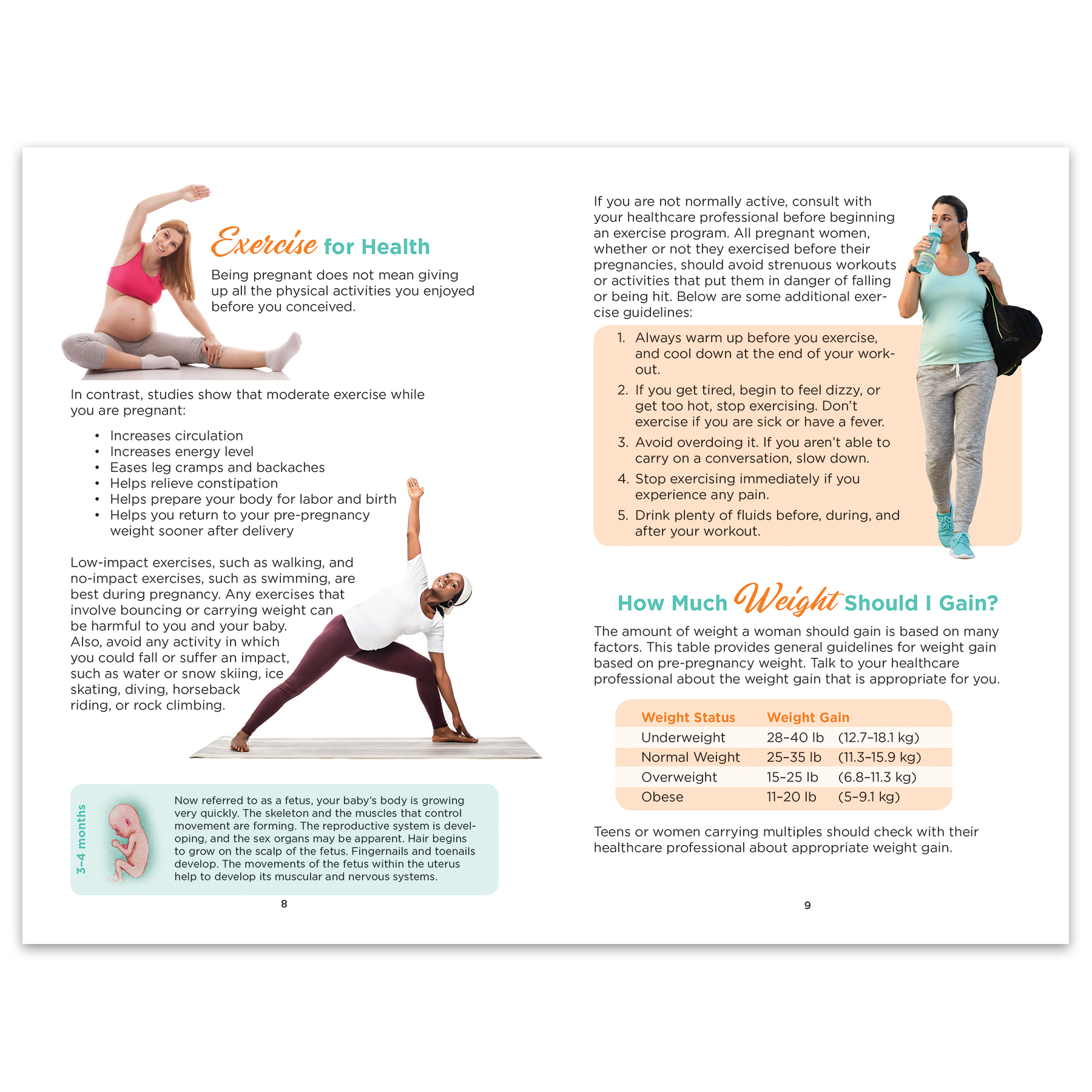 Prenatal Care 16-page booklet spread, illustrations exercises for health, Childbirth Graphics. 40009