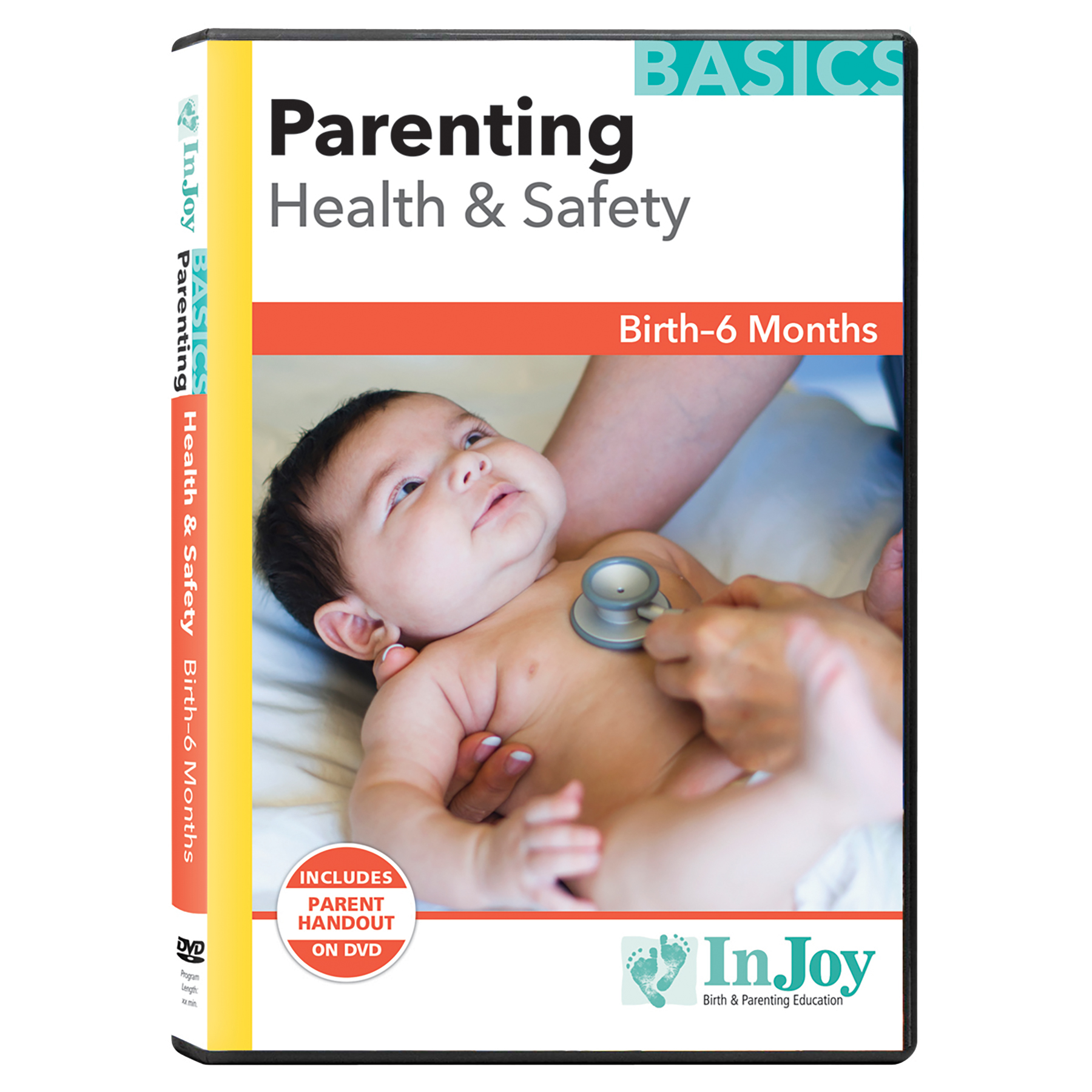Parenting Health & Safety Birth to 6 Months DVD cover, stethoscope on baby's chest, Childbirth Graphics, 40019