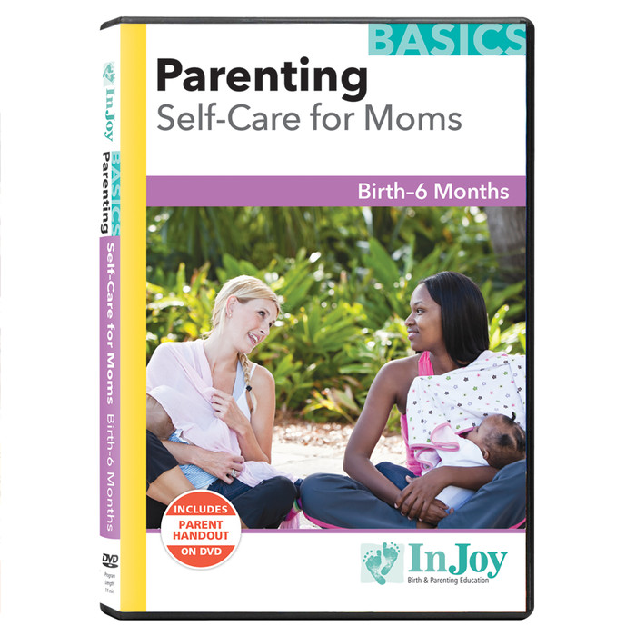 Parenting Self-Care for Moms DVD cover multi-ethnic moms breastfeeding discreetly in public, Childbirth Graphics, 40028