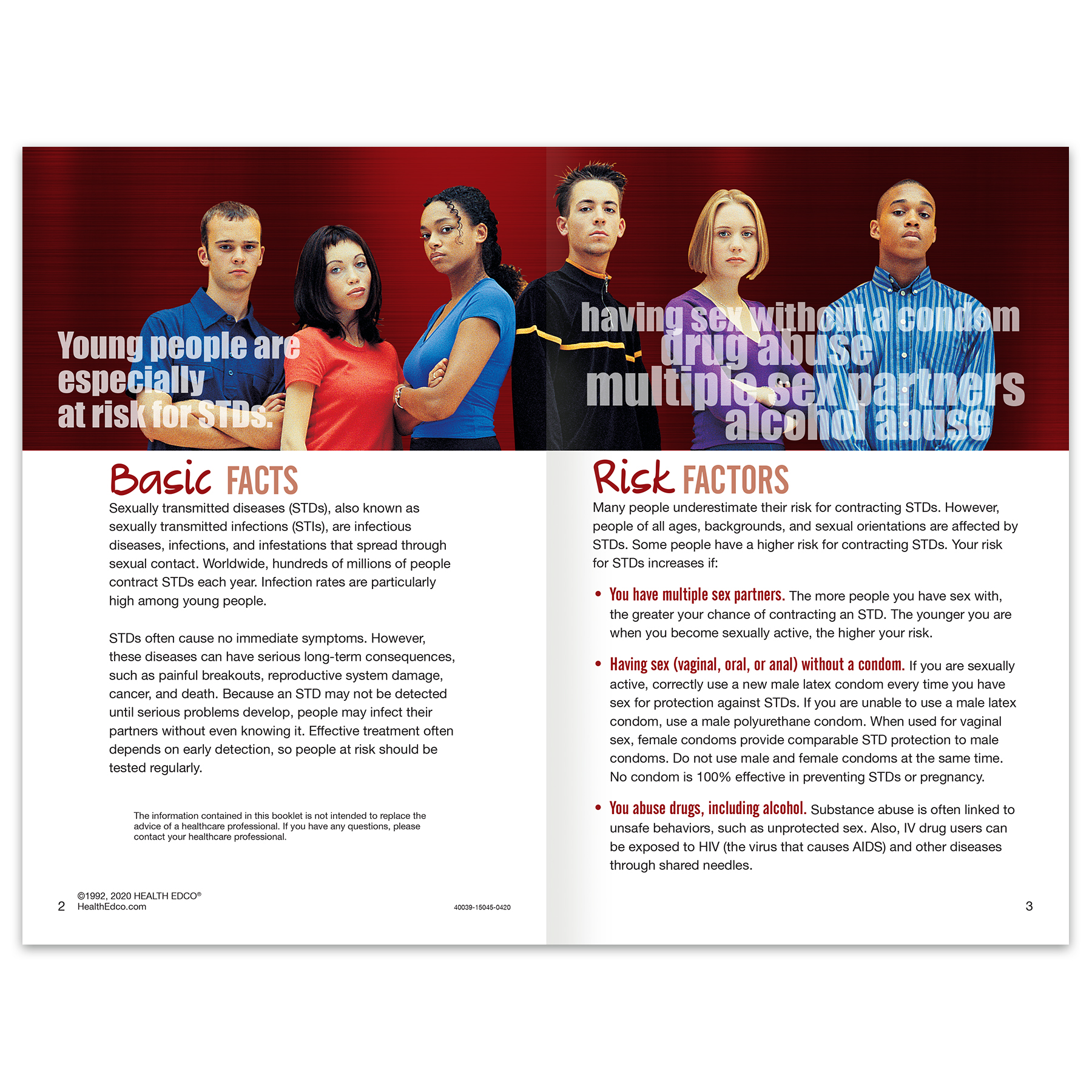 Sexually Transmitted Diseases STDs 16-page booklet spread, couple ghosted in background of HIV/AIDS information, Health Edco, 40039