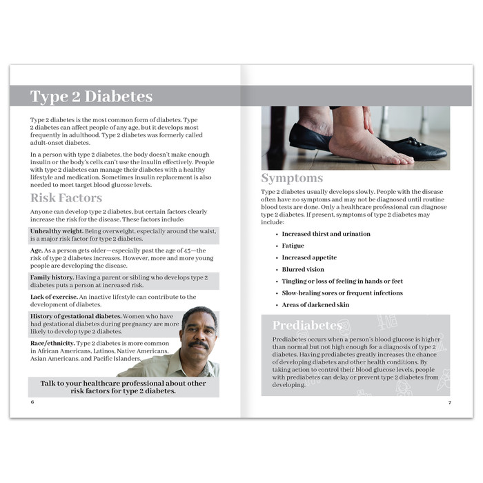 Diabetes booklet for diabetes and health education from Health Edco, pages about type 2 diabetes symptoms and risks, 40065