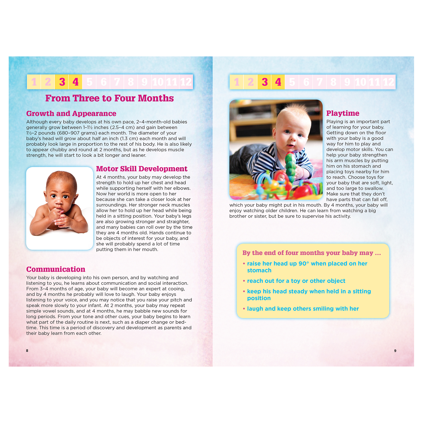 Your Baby's First Year 16-page booklet inside spread,what to expect when your baby is between 3 and 4 months old, Childbirth Graphics, 40072