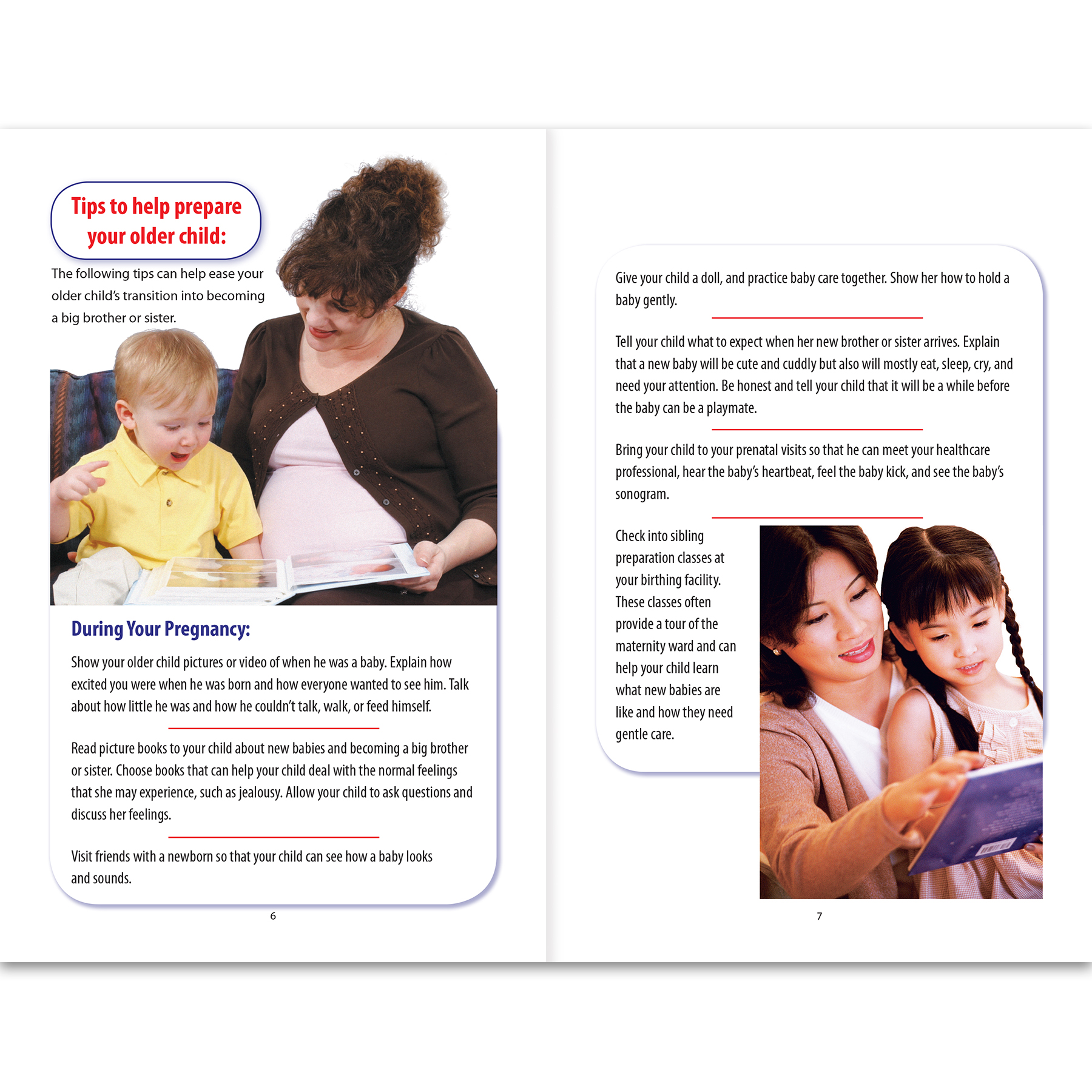 Sibling Preparation a Guide for Parents 16-page booklet inside spread, tips, Childbirth Graphics, 40431