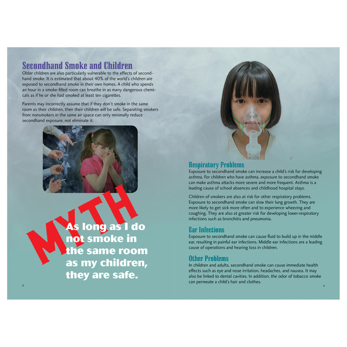 Secondhand Smoke 16-page booklet inside spread, secondhand smoke and consequences for children, Health Edco, 40478
