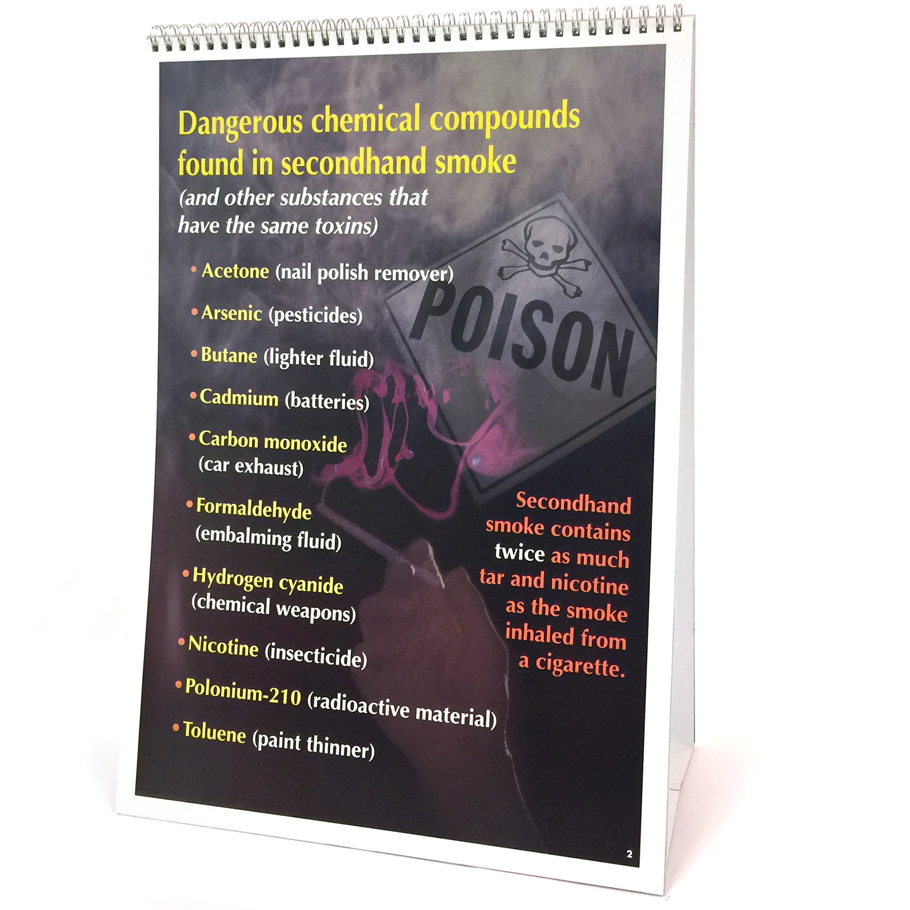 Secondhand Smoke 6-panel spiral bound flip chart panel 2 teaching notes, dangerous chemical compounds explained, Health Edco, 43110