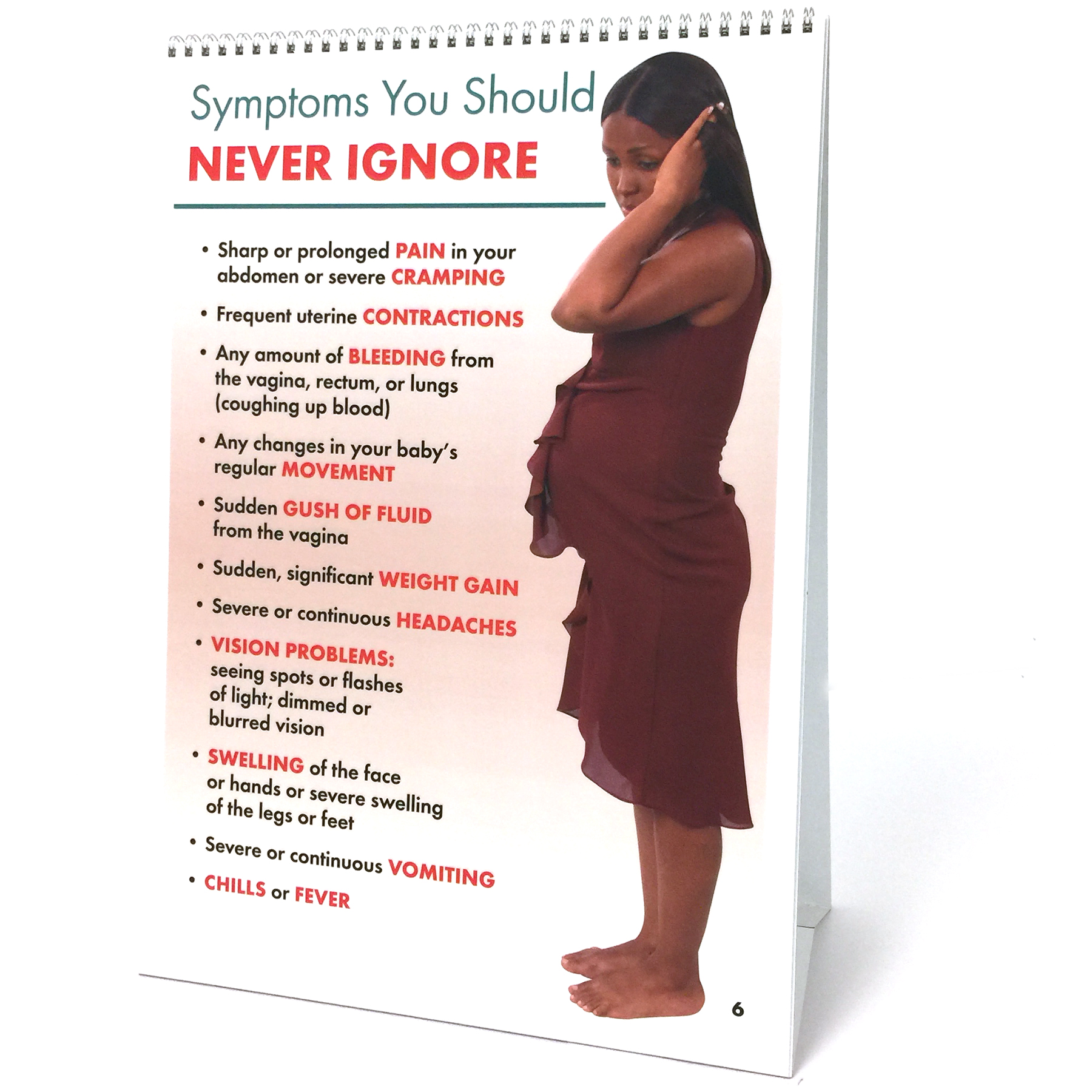 Prenatal Care 6-panel spiral bound flip chart panel 6, pregnancy problems not to ignore, Childbirth Graphics. 43125