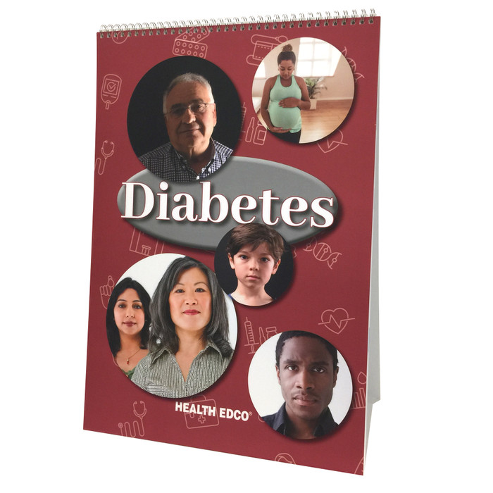 Diabetes 6 panel spiral bound flip chart cover, various ages and ethnicities of people, Health Edco, 43130