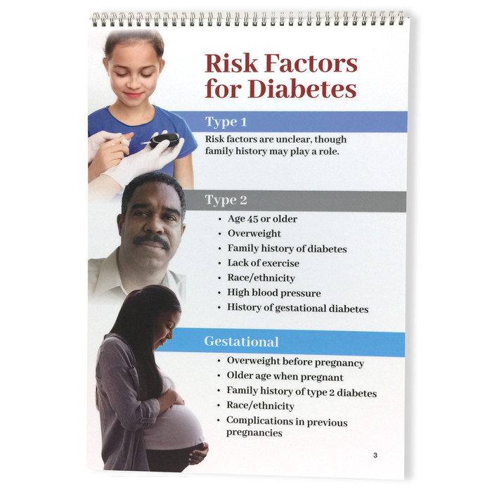 Diabetes 6 panel spiral bound flip chart panel 4, prevention and symptoms of type 2 diabetes, Health Edco, 43130