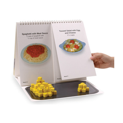Food Choices Interactive Flip Chart inside spaghetti tossed salad yellow cubes fat calories carbs, Health Edco, 43135
