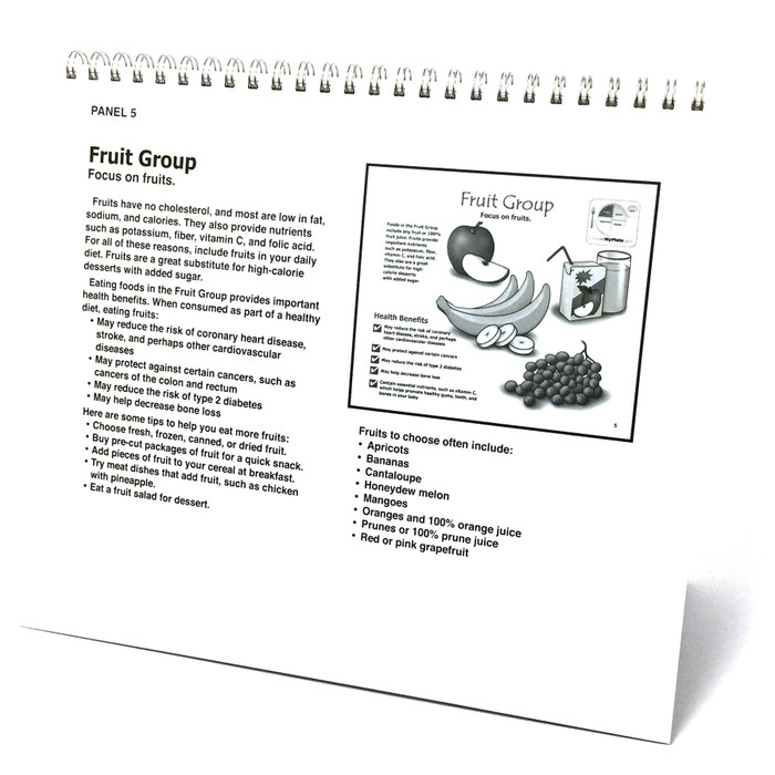 Nutrition During Pregnancy 14 panel spiral-bound flip chart panel 5 back teaching notes, fruit group explanation, Childbirth Graphics, 43164