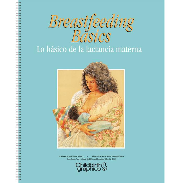 Breastfeeding Basics illustrated English/Spanish spiral-bound charts cover, Childbirth Graphics, 43308