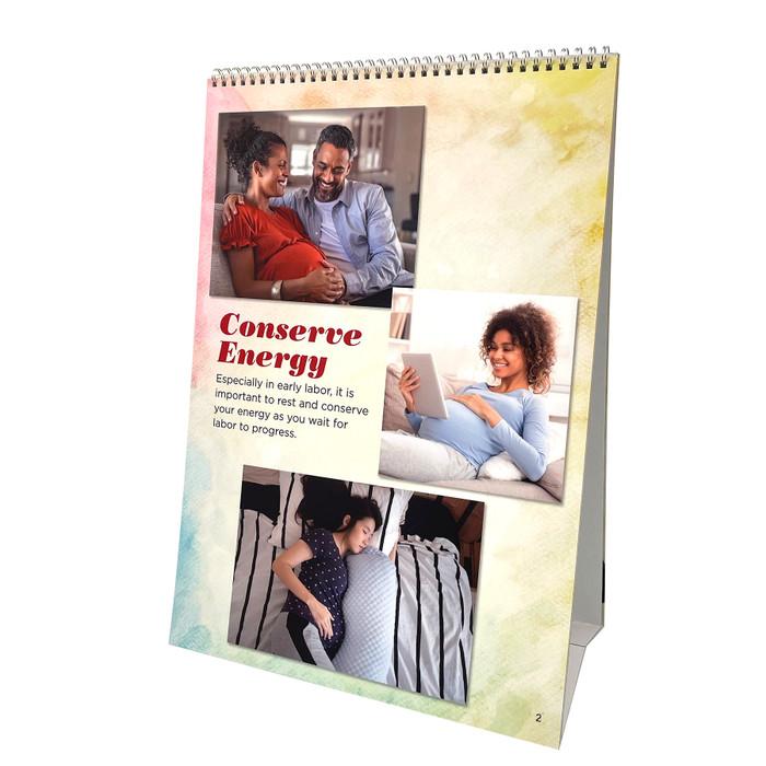 Comfort Positions for Labor & Birth photo panels spiral bound flipchar photo panel 5, partner massaging shoulders, Childbirth Graphics, 43324