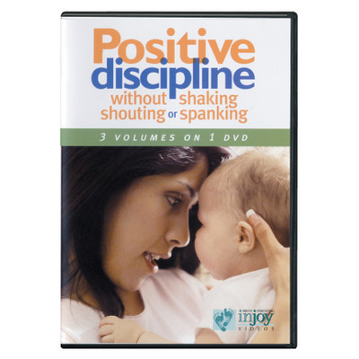Positive Discipline without shaking shouting spanking DVD cover, mother holding baby's head close, Childbirth Graphics, 48100