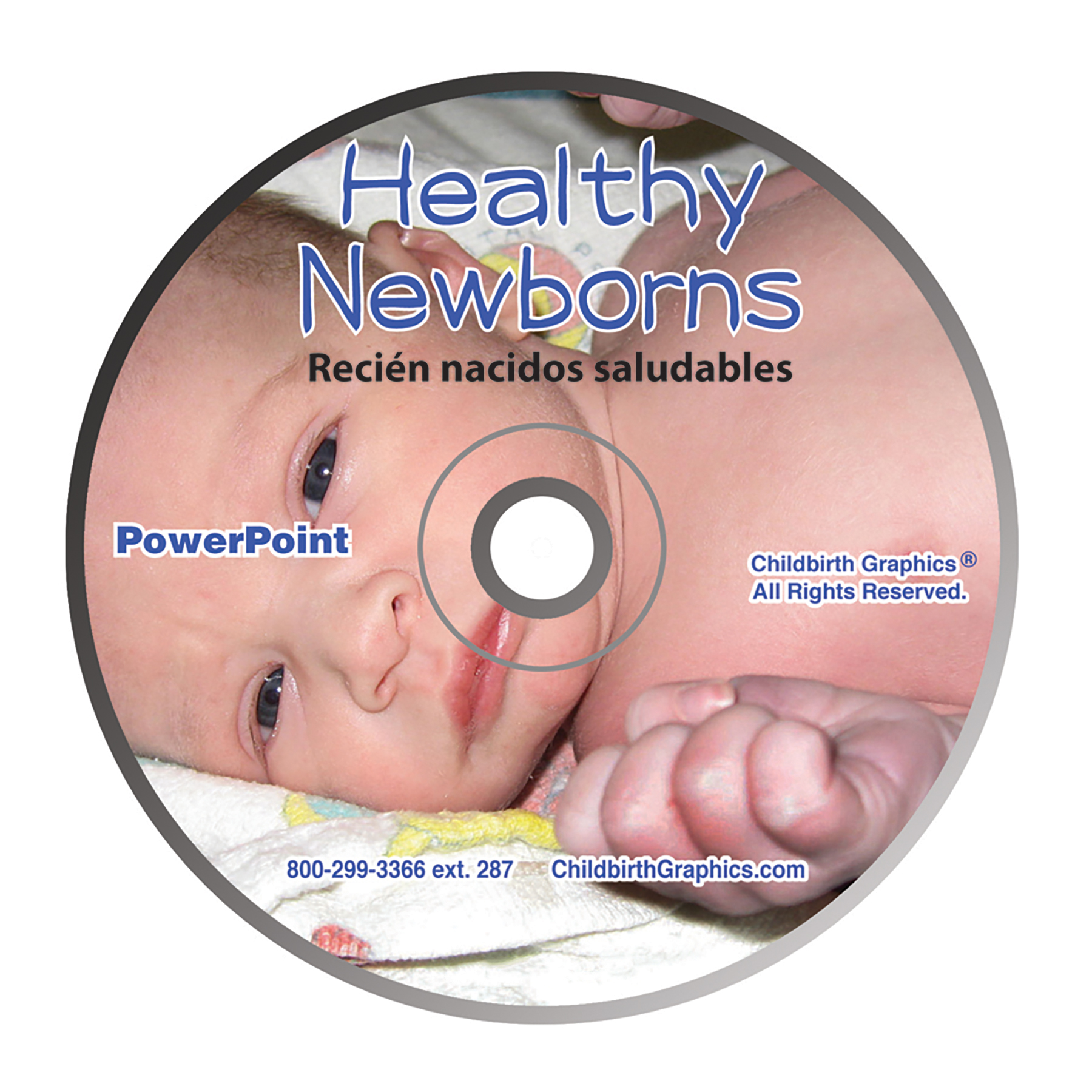 Healthy Newborns PowerPoint disk image, closeup of newborn laying on back, Childbirth Graphics 48514