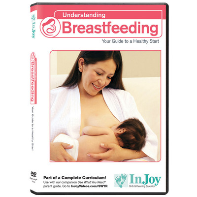 Understanding Breastfeeding DVD Spanish cover, mom smiling while breastfeeding baby, Childbirth Graphics, 48798