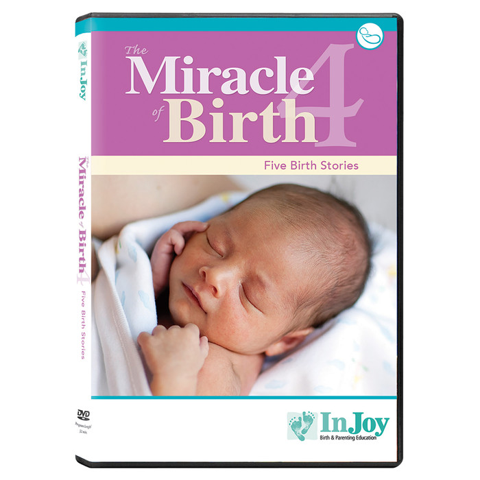 Miracle of Birth 4 DVD cover, closeup of newborn head and hands, 5 birth stories, Childbirth Graphics, 48839