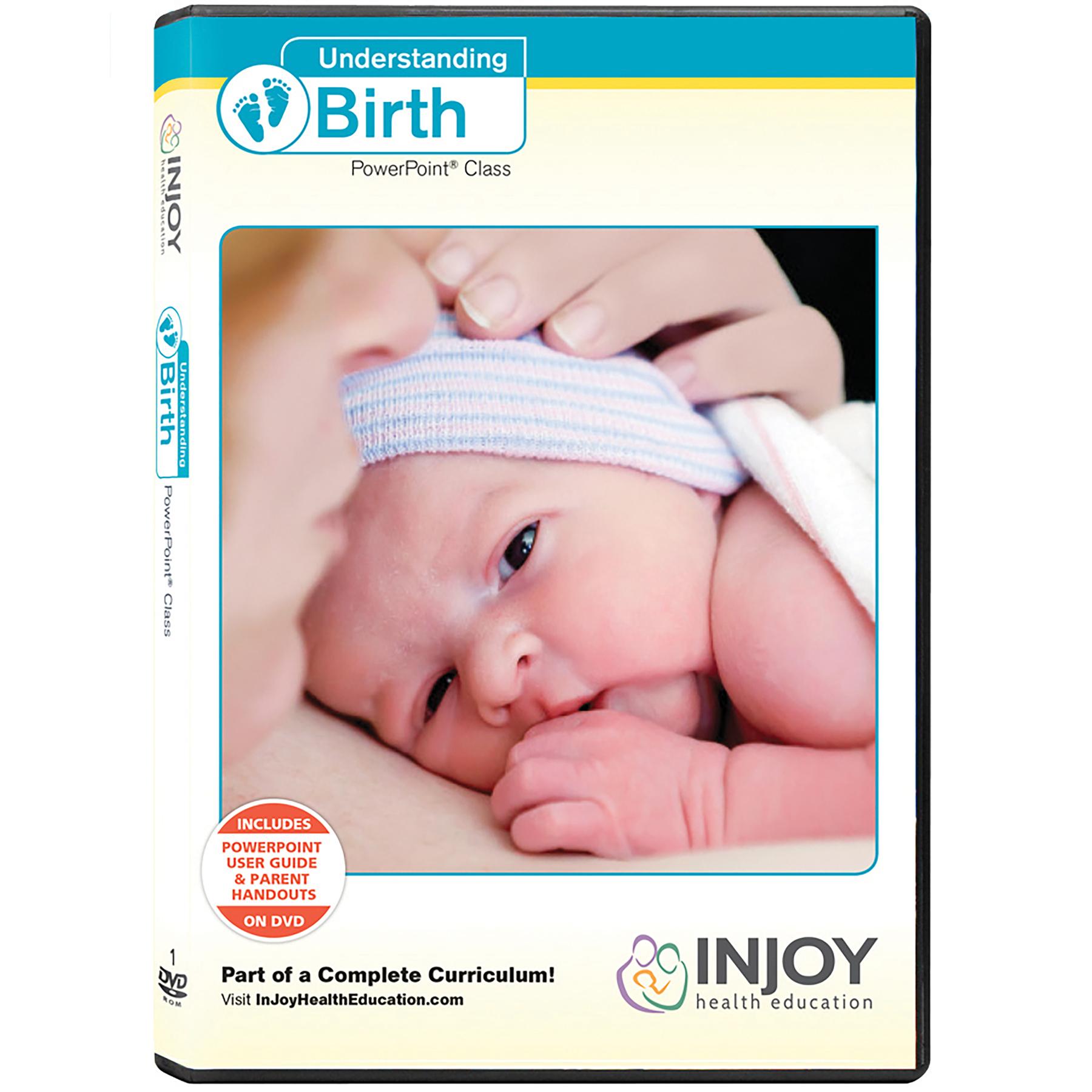 Understanding Birth PowerPoint Class DVD cover newborn striped cap skin to skin, Childbirth Graphics, 48854