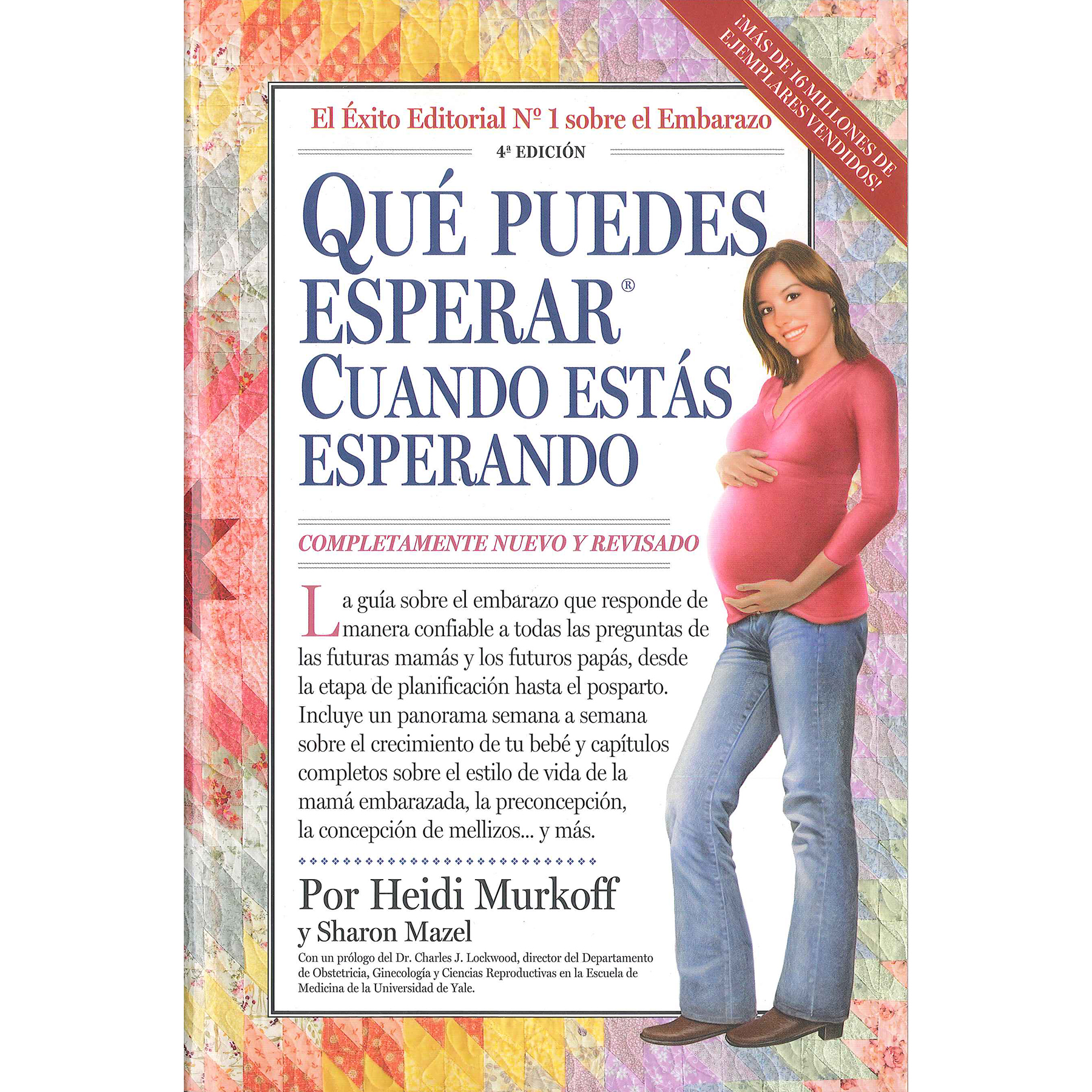 What to Expect When You're Expecting Book Spanish, quilt background drawing of Hispanic mom, Childbirth Graphics, 50061