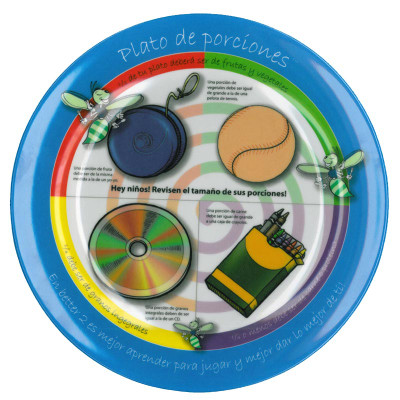 Child's Portion Plate Spanish, plate with images of known size items demonstrating appropriate portion sizes, Health Edco, 50064