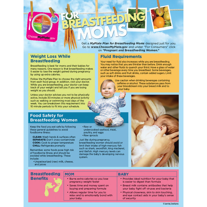 MyPlate for Breastfeeding Moms Tear Pad English back, weight loss fluid needs food safety, Childbirth Graphics, 50322