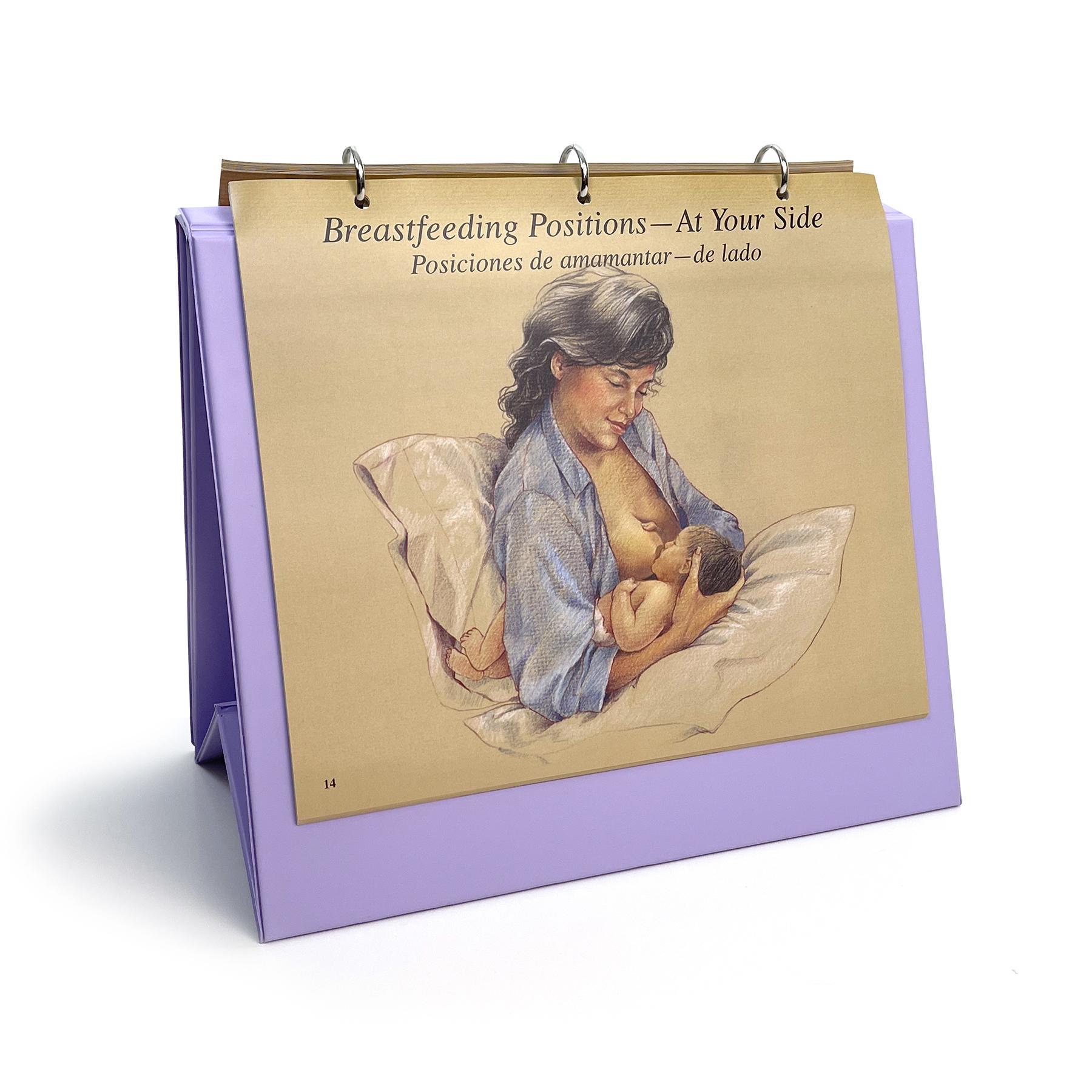 Breastfeeding illustrated Chart Set 3 ring binder English-Spanish, myths about breastfeeding spanish panel, Childbirth Graphics, 50705