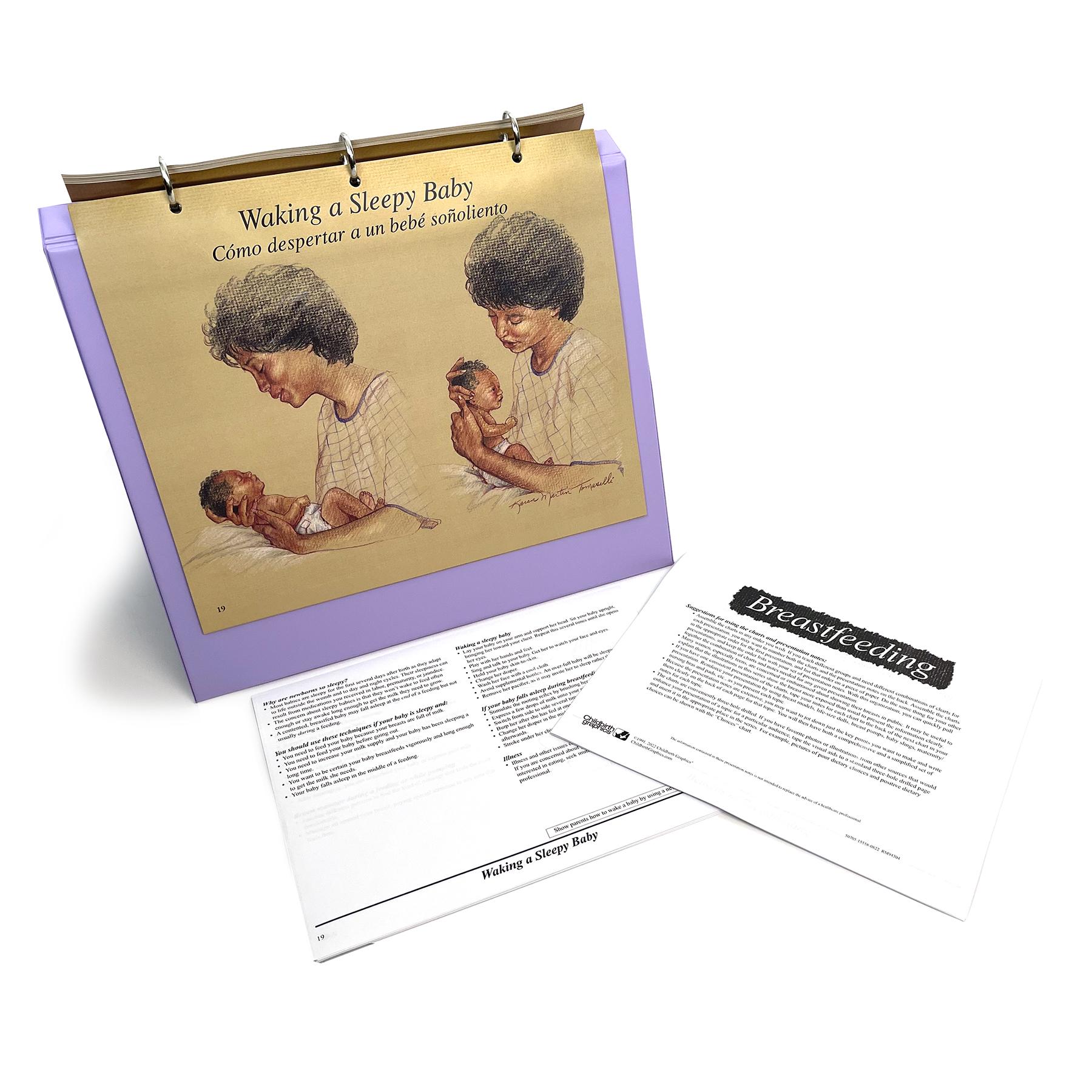 Breastfeeding illustrated Chart Set 3 ring binder breastfeeding position lying down, Childbirth Graphics, 50705