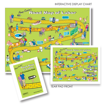 Penny Simkin's Road Map of Labor Package, lime green map with illustrated labor comfort positions, Childbirth Graphics, 50760